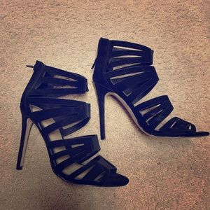 ASOS black caged heels